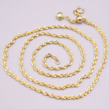 "Pure 18K Yellow Gold Women Luck Rope Chain Necklace 18""L 2.4-2.7g 2mmW"