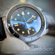 "Müller&Son Watch ""No Time to Die"" Mega Mod made from Seiko SNZF + Leather Strap"