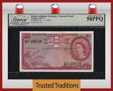 TT PK 7b 1954-57 BRITISH CARIBBEAN 1 DOLLARS QUEEN ELIZABETH LCG 58 PPQ CHOICE!