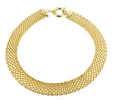 VINTAGE DESIGNER GOLD TONE MESH WIDE LG THICK JUMP RING CLASP COOL NECKLACE 18""