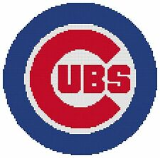Counted Cross Stitch Pattern, Chicago Cubs Logo - Free US Shipping