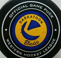 SASKATOON BLADES WHL OFFICIAL GAME PUCK PRO FLEX MADE IN CANADA HOCKEY