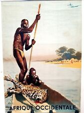 ORIGINAL Vintage Airline Travel Poster AIR FRANCE French Colonial AFRICA Tribal