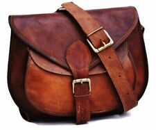 Women's Vintage Genuine Brown Medium Leather Messenger Shoulder Cross Body Bag