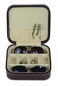 TIMELYBUYS Dark Brown 3 Compartment Sunglass Travel Case & Jewelry Box Storage