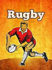 SPORT PROMOTIONAL RUGBY FOOTBALL BALL PLAYER STRESSED EFFECT POSTER BMP10338