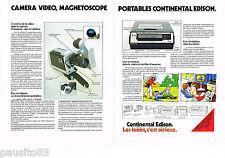 PUBLICITE ADVERTISING 065  1979  CONTINENTAL EDISON  vidéo caméra magnéto ( 2p)