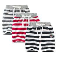 1-8 Yrs Kids Boys Students Toddler 100% Cotton Striped Sports Shorts Short Pants