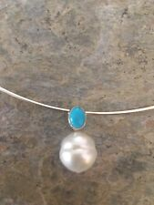 14KT White Gold CABOCHON Turquoise Paspaley South Sea Pearl Pendant Slide NEW