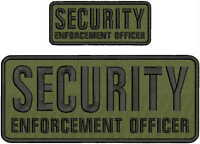 SECURITY ENFORCEMENT OFFICER  EMBROIDERY PATC 4X10 & 2X5 HOOK ON BACK OD/BLK