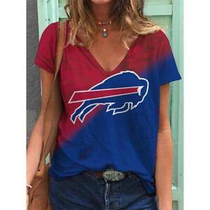 Buffalo Bills Women Fashion Deep V-neck T-shirts Summer Holiday Hawaiian Blouse