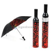 Portable Creative Fashion Three Folding Sun-rain Umbrella + Wine Bottle