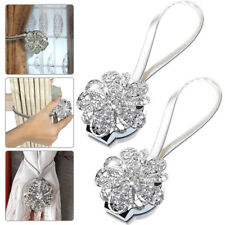 Pair Of Magnetic Curtain Tiebacks Crystal Tie Backs Buckle Clips Holdbacks Home