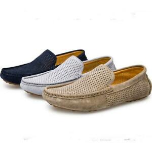 Mens Hollow Loafer Shoes Slip On Casual Round Toe Light Breathable Comfort Flats