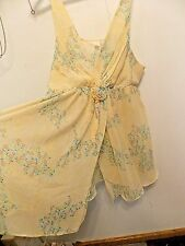 Flora Nikrooz Sheer Chiffon Style Yellow Floral Gown sz 2X