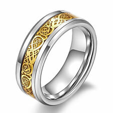 8MM Gold-plated Stainless Steel Men Wedding Rings Cool Band Ring Size 10