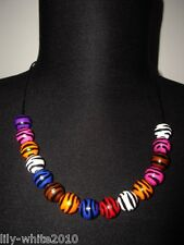 "Zebra Print Necklace - Statement Bead Necklace 18"" Long Multi Coloured Necklace"