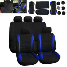 Universal Car Seat Covers Full Set Sporty Blue/Black Washable Compatible
