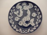 Royal Copenhagen Mors Dag Mother's Day Plate 1976  Blue with Mermaids & Fish 6""