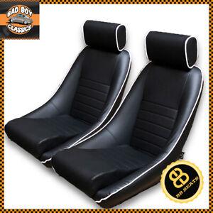 BB1 RS Classic Car Black / White Piping Sports Racing Bucket Seats UNIVERSAL x2