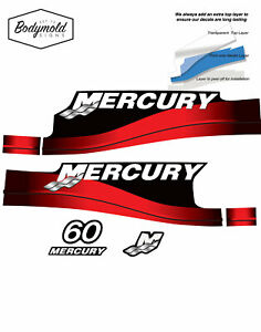 Mercury Outboard Decals 60hp 1999 to 2006 2 stroke Red
