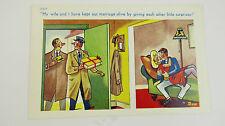 1950s Comic Postcard Blonde Big Boobs Black Stockings Garter Belt Suspenders