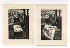 2 PHOTOS ANCIENNES Landau Bébé  Curiosité Barre Yeux Vers 1960 Photo ratée