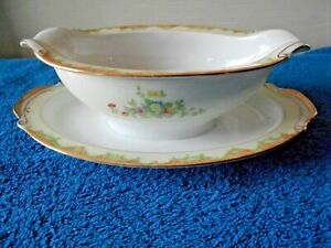 Hand Painted Gravy Boat with attached plate Green Stamp Lovely Yellow flowers