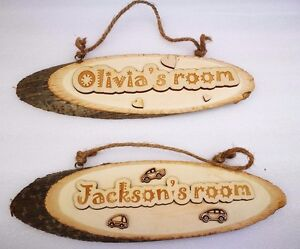 Personalised Wooden Log Name Plaques  Wall Door Art Sign Boys Girls