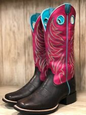 Ariat Women's Round Up Ryder Yukon Chocolate & Magenta Square Toe Boots 10023159