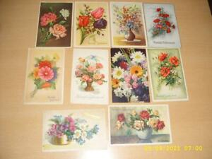 BEAUTIFUL COLOURFUL FLOWERS  - COLLECTION OF VINTAGE  PRETTY  GREETING POSTCARDS