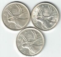 3 X CANADA 25 CENTS QUARTERS KING GEORGE VI SILVER COIN 1937 1938 1939