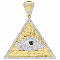 10K Yellow Gold Black Diamond All Seeing Eye Pendant Pyramid Charm 1.20 Ct.