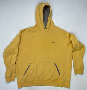 VINTAGE Nike Embroidered Swoosh Pullover Hoodie Men Adult XL Yellow Travis Scott