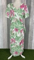 Jacques Vert White Floral Chiffon Midi Wrap Dress Size UK 16 Occasion Wedding