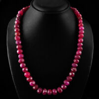 SUPERB TOP SELLING 499.45 CTS EARTH MINED RUBY FACETED BEADS NECKLACE STRAND