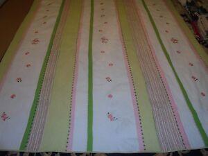Nice White, Pink & Green Stripe w/Machine Sewn Flowers Quilt