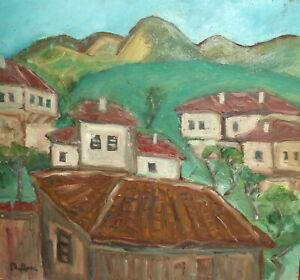 Vintage expressionist oil painting village houses landscape signed