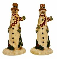 Vintage Christmas Primitive Skinny Snowman Salt and Pepper Shakers