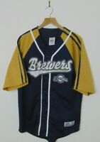 True Fan Men's M Milwaukee Brewers Baseball Jersey MLB Blue Stitched Sewn