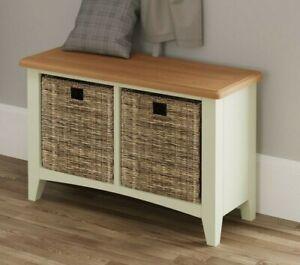 Merlo White Hall Bench / Modern Painted Hallway Shoe Storage Cabinet / Side Unit