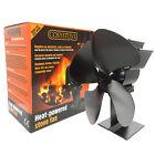 Black 4 Blade Heat Powered Winter Eco Fuel Saving Wood Burning Stove Top Fan
