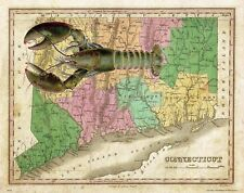 Lobster Seafood Fishing Connecticut State Map Art Print Trap Bake Kitchen MAP39