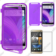 Housse Etui Coque Portefeuille Silicone Gel TPU Violet HTC One M8 2014 + Verre