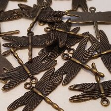 10 x Small Dragonfly Charm Pendant Antique Bronze Plated  BOHO 28 x 35 mm