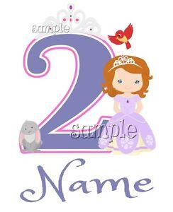 IRON ON TRANSFER PERSONALISED birthday ANY NAME NUMBER PRINCESS BIRD TIARA