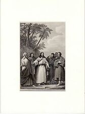 Antique matted print :  Jesus and Nathanael /  Gospel of John bible / 1864