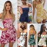 Femme Vacances à Lanière Avec Maxi Court Summer Imprimer robe de plage Dress
