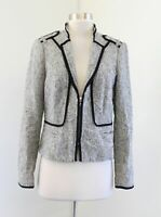 White House Black Market Black Gray Zip Front Mock Neck Moto Jacket Blazer Sz 8