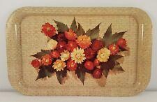 """Lot of 4 Vintage Metal Snack Food Drink Trays 9"""" X 14"""" Flower Basket Design"""